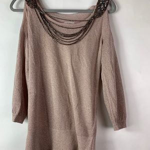 Women's Cache Knit Sequined Cold Shoulder Sweater